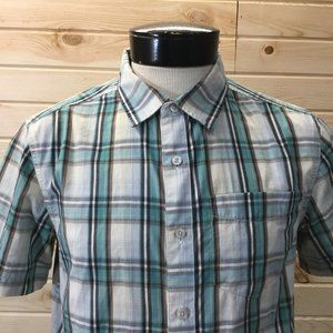 North Face Plaid Hiking Button Front Shirt  M SS